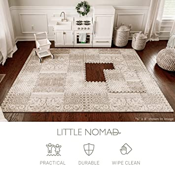 4491edc058518 Amazon.com   Little Nomad Baby Foam Play Mat Authentic Roam Free 4 x 6 Soft  Interlocking Floor Tiles