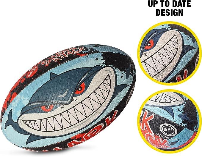 OPTIMUM Pelota de Rugby Shark Attack, SharkAttack, tamaño 4 ...
