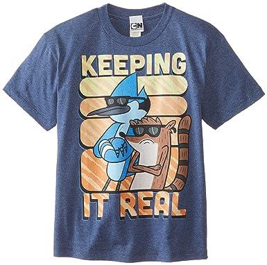 02341cf380 Regular Show Big Boys' T-Shirt Shirt, Heather Navy, Small
