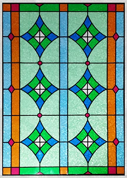 Stained Glass Window Cling Film.Stained Glass Window Film Door Window Privacy Film Non Adhesive Static Cling Film Frosted Privacy Window Film 24 X 78
