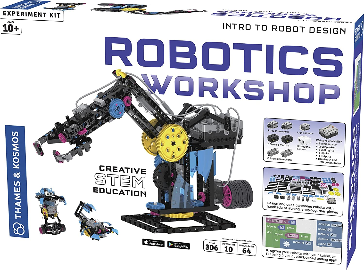 Thames & Kosmos Robotics Workshop Model Building & Science Experiment Kit   Build & Program 10 Robots with Ultrasonic Sensors   Program & Control with App for iOS & Android