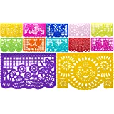 """Beautiful Mexican TISSUE """"Papel Picado"""" Banner - 12 TISSUE PANELS in Medium Size / Multi-Colored - Designs and Colors as Pictured by Paper Full of Wishes"""