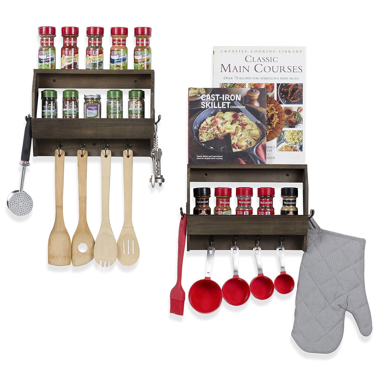 wallniture organizador de cocina decoración de pared para especias con 8 ganchos de madera nogal 12 cm Set de 2: Amazon.es: Amazon.es