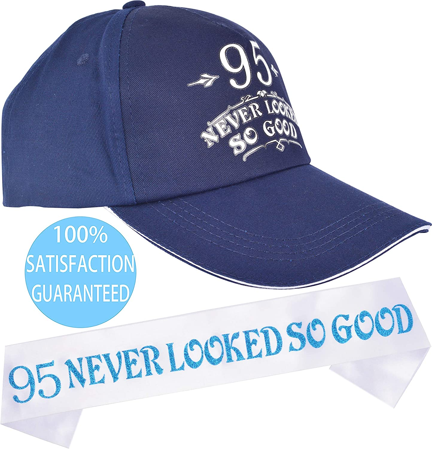 95th Birthday 95th Birthday Gift for Men 95 Never Looked So Good Sash 95th Birthday Caps and Sash Happy 95th Birthday Party Supplies 95th Birthday Party Supplies Gifts and Decorations