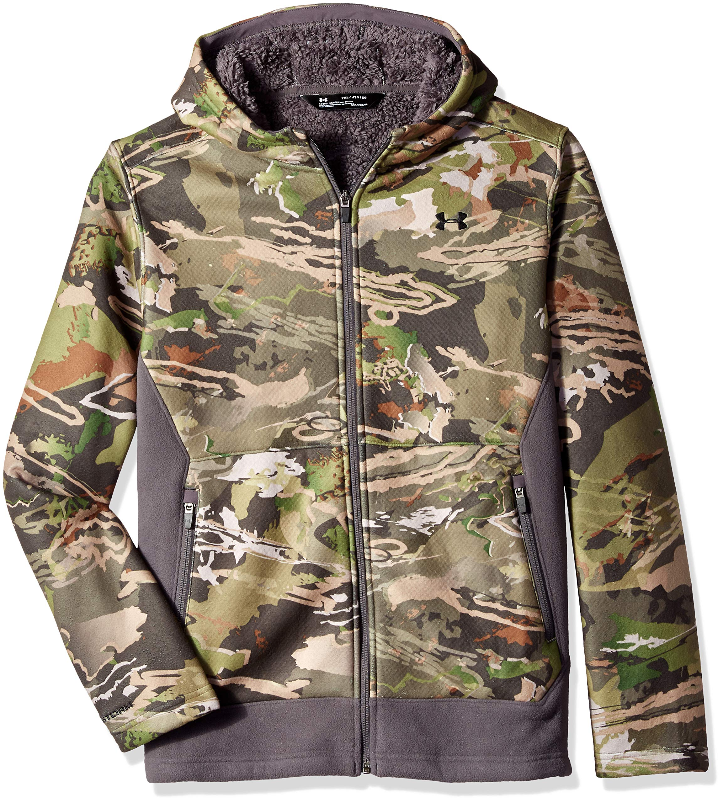 Under Armour Boys Stealth Fleece Jacket, Ua Forest Camo (940)/Black, Youth X-Small