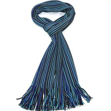 LOVARZI Echarpe pour homme en laine Bleu et Gris Echarpe pour hommes laine  mérinos  Amazon.fr  Vêtements et accessoires f2d9df1e434
