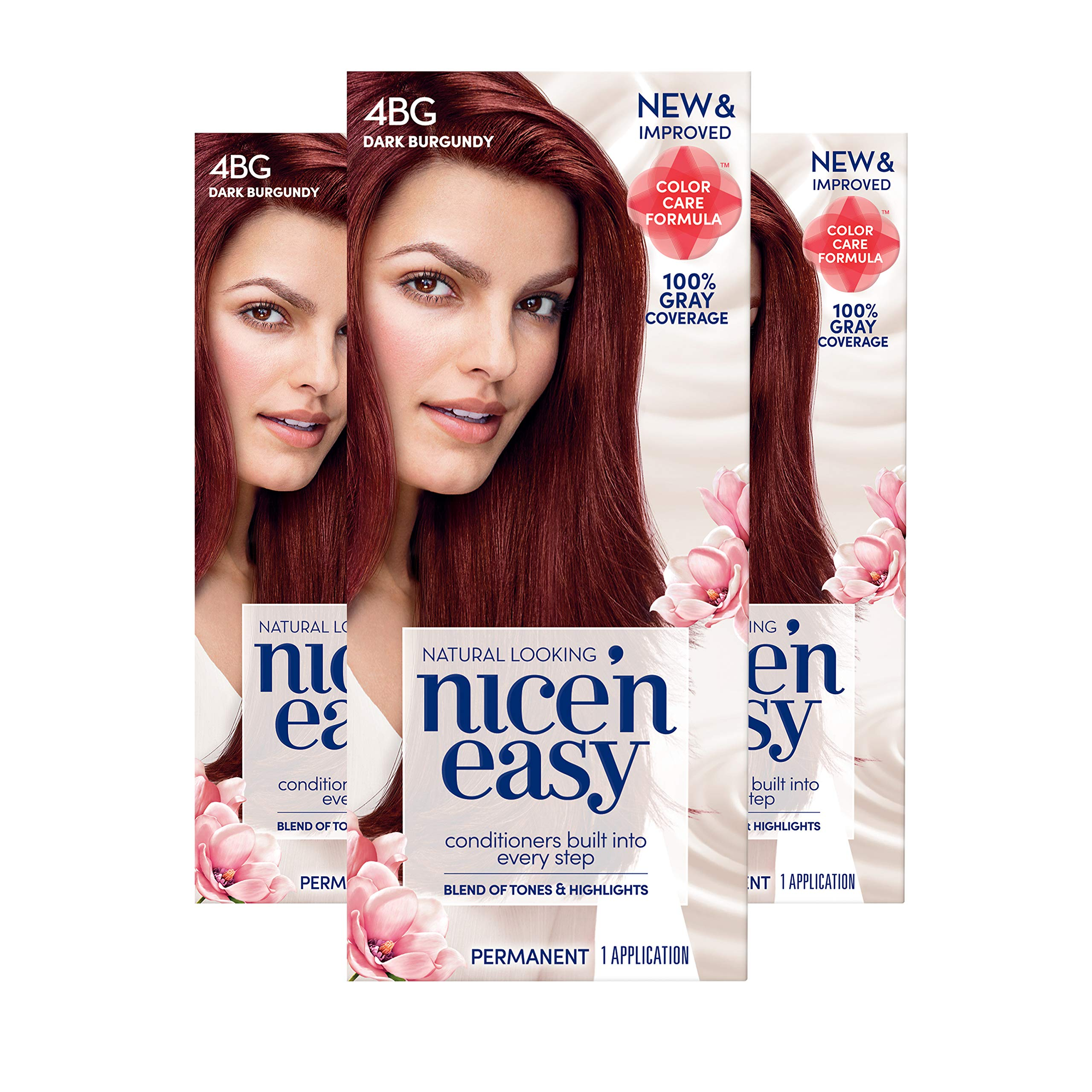 Clairol Nice 'n Easy Permanent Hair Color, 4BG Natural Dark Burgundy, 3 Count, Reds (Packaging May Vary) by Clairol