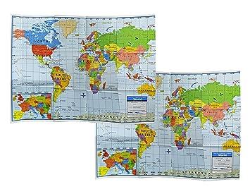 set of 2 world wall maps 40 x 28 large education world map