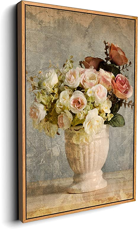 Amazon Com Signford Canvas Wall Art For Living Room Bedroom Vintage Flower Framed Canvas Prints For Home Decoration Ready To Hang 16 X24 Inches Posters Prints