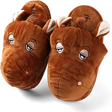 Amazon Com Animal Horse Plush Bedroom Slipper Home Slipper Cute Womens Bedroom Shoes Soft Footwear S Brown Slippers