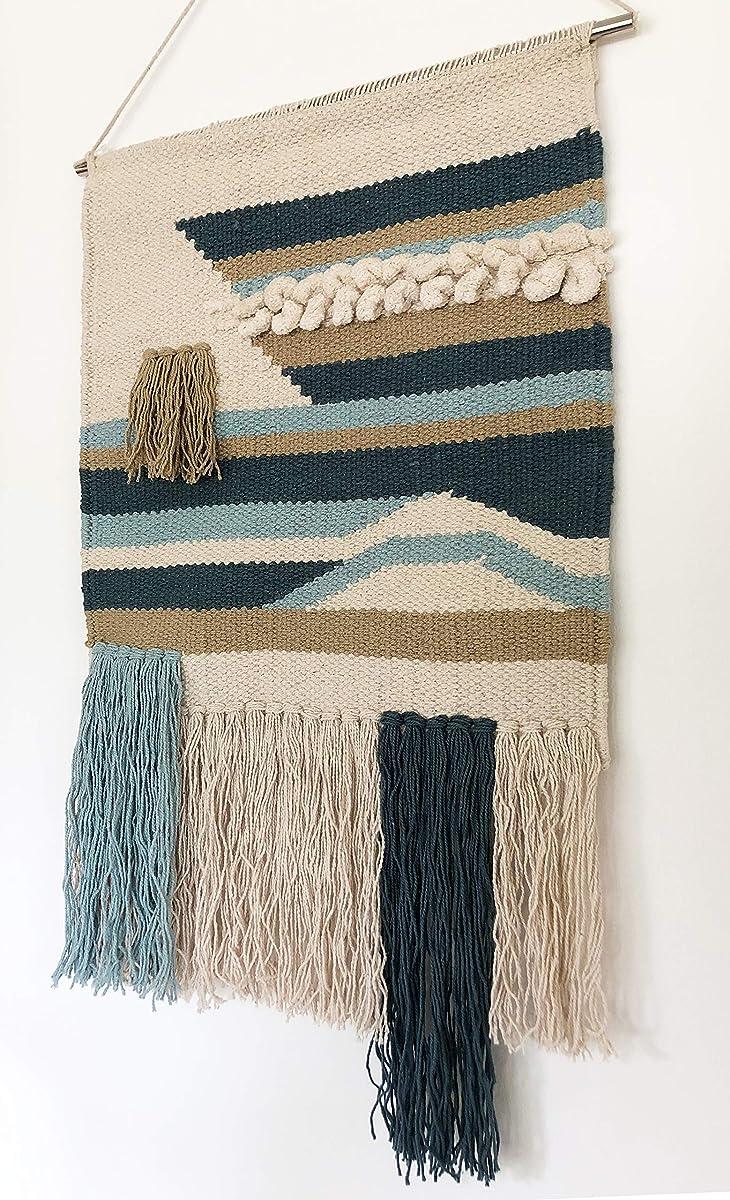 "Primitives by Kathy Seaside Woven Wall Hanging, Handmade Bohemian Fringe Tassel Banner, Cotton, 14""W x 22""L"