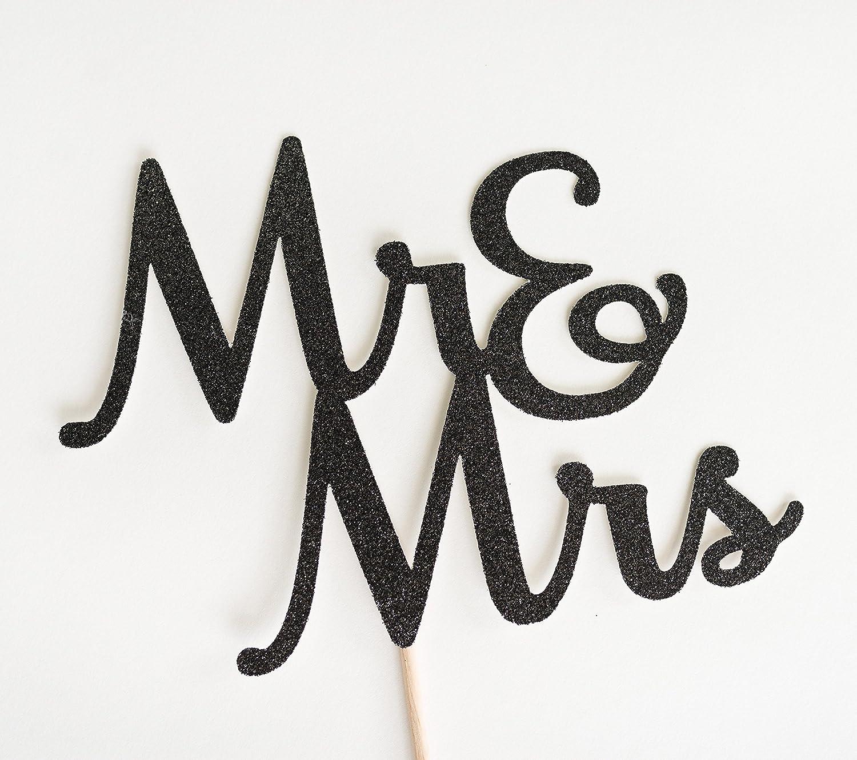 Black Glitter Mr & Mrs Wedding Script Cake Topper, and, Rehearsal dinner, engagement party