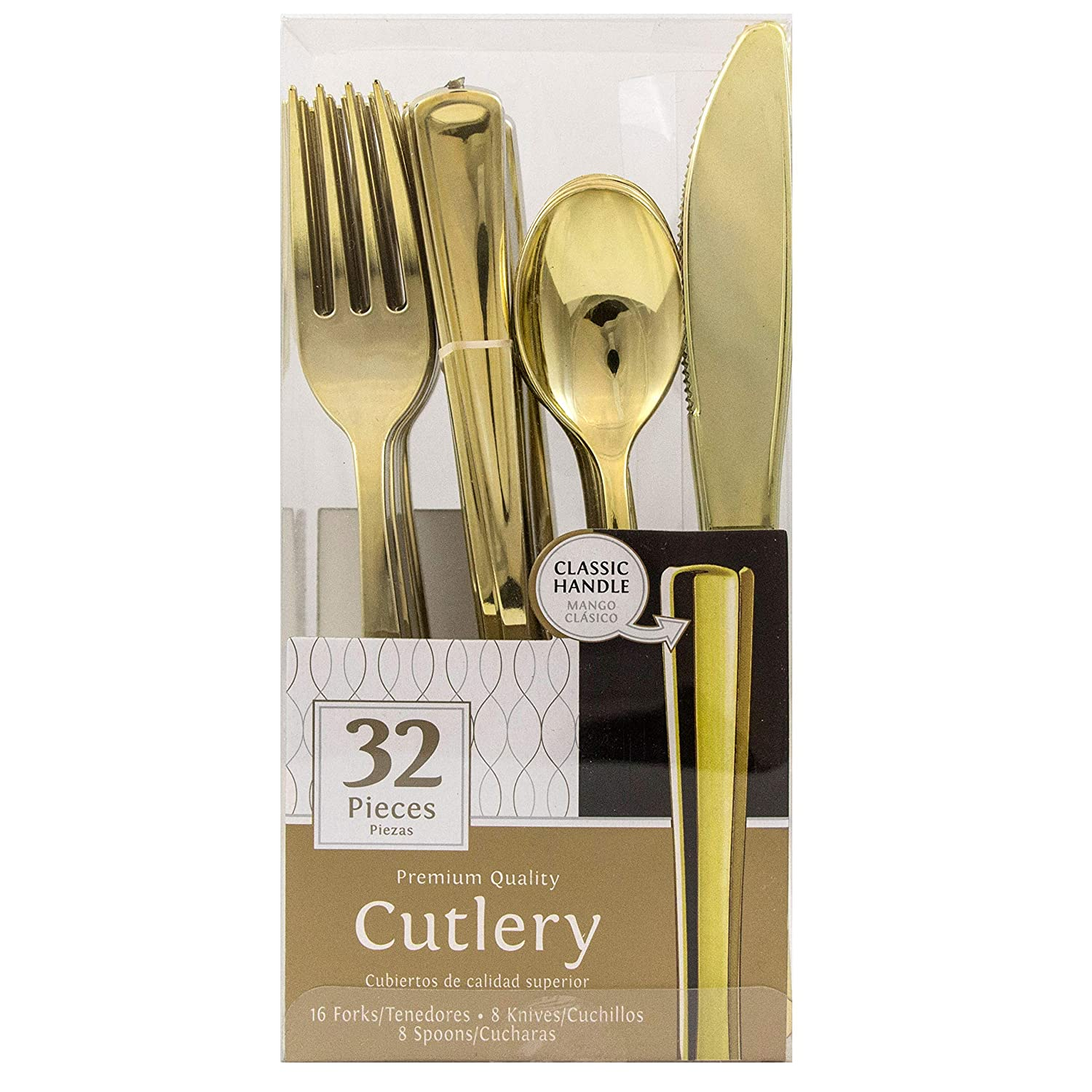 Amazon.com: JAM PAPER Premium Cutlery - Assorted Utensils Set - Metallic Stainless Silver - 32 Disposable Utensils/Box: Kitchen & Dining