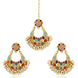 Palash Ethnic Gold Alloy Maang Tikka and Earring Set for Women