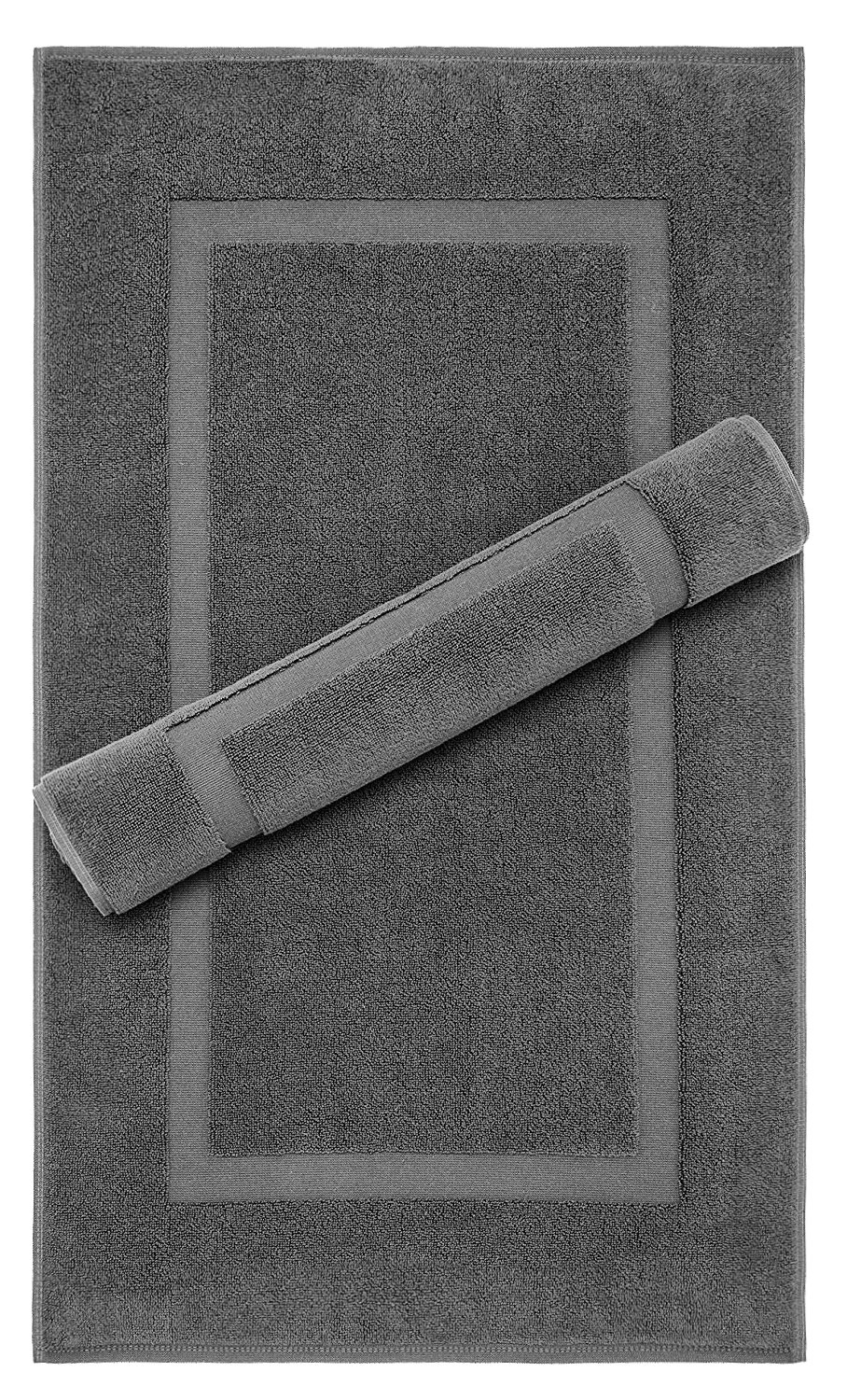 Machine Washable Bath Mat, Floor Mat, 2 Pack, 900 GSM, 21x34 Inches, 100% Ringspun Cotton, Luxury Hotel & Spa Quality, Absorbent and Soft by American Bath Towels, Dark Grey