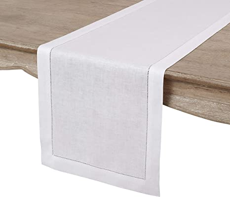 Solino Home 100 Pure Linen Hemstitch Table Runner 14 X 36 Inch Handcrafted From European Flax Machine Washable Classic Hemstitch White Home Kitchen