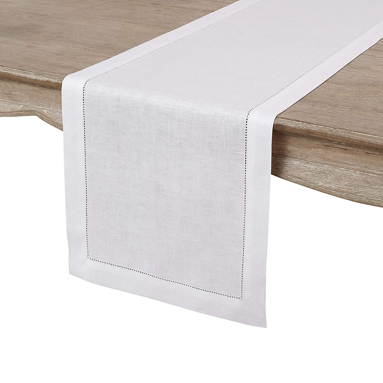 Solino Home Hemstitch Linen Table Runner - 14 x 90 Inch, Handcrafted from European Flax, Machine Washable Classic Hemstitch - White