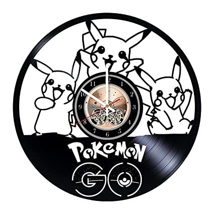 Pikachu Pokemon/_Exclusive wall clock made of vinyl record/_GIFT