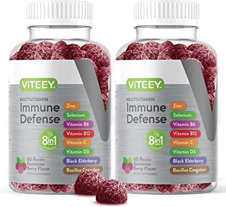 8 in 1 Immune Support Booster Pectin Gummies with Probiotics - Vitamin Dietary Supplement - Multivitamin Immune Defense for Adults & Teens - Berry Flavored Gummy [60 Count 2 Pack]