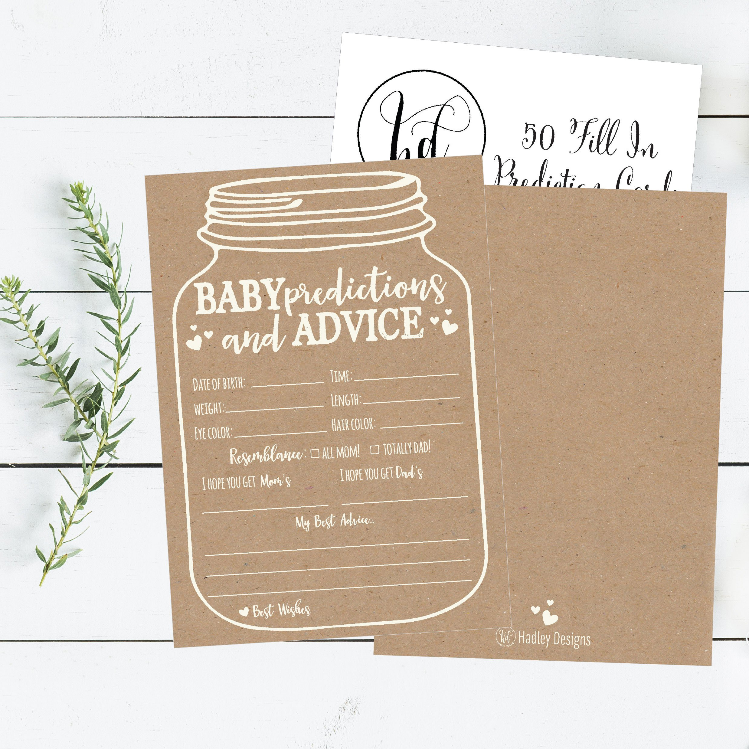 50 Mason Jar Advice and Prediction Cards for Baby Shower Game, New Mom & Dad Card or Mommy & Daddy To Be, For Girl or Boy Babies, New Parent Message Advice Book, Fun Gender Neutral Shower Party Favors by Hadley Designs (Image #3)
