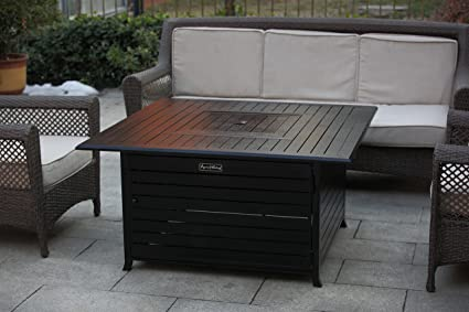 Gentil LEGACY HEATING Squre Gas Fire Pit Table, All Aluminum With Stainless Steel  Burner,Table
