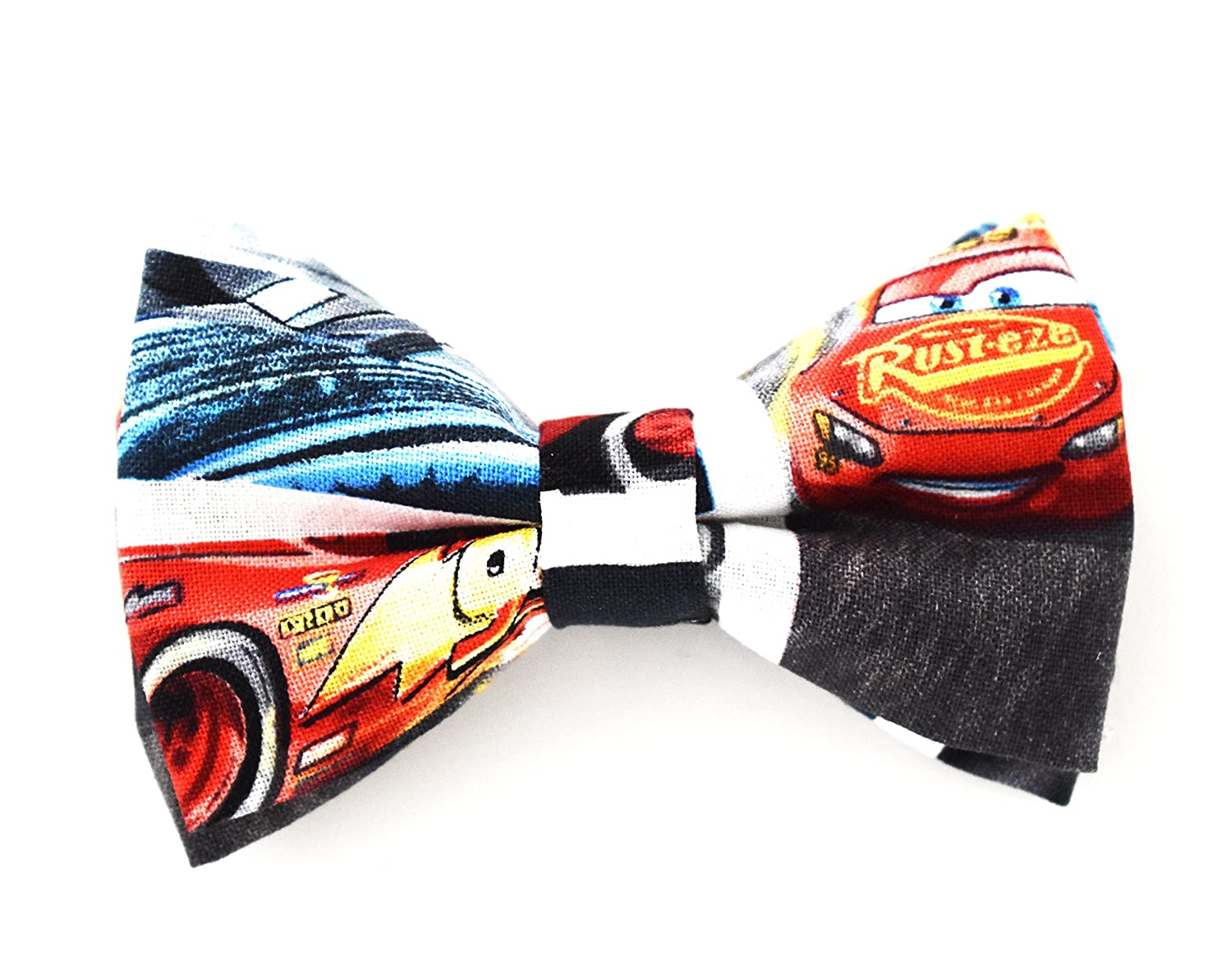 Disney Cars Lightning McQueen Bow Tie Clip On Fits Baby Toddler Boy Handmade (One Size Fits All) - by Blossom Design