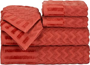 Lavish Home 6-Piece Cotton Deluxe Plush Bath Towel Set – Chevron Patterned Plush Sculpted Spa Luxury Decorative Body, Hand and Face Towels (Brick)