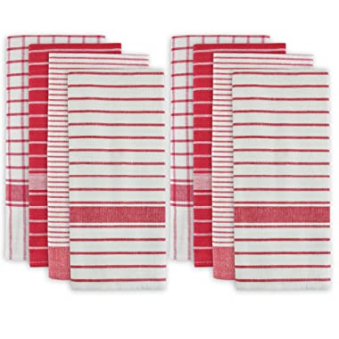 DII 100% Cotton, Ultra Absorbent, Drying & Cleaning, Everyday Kitchen Basic, Classic Stripe Dishtowel, 20 x 28 , Set of 8- Red