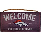 """NFL Denver Broncos 12"""" x 6"""" Distressed Welcome to Our Home Wood Sign"""