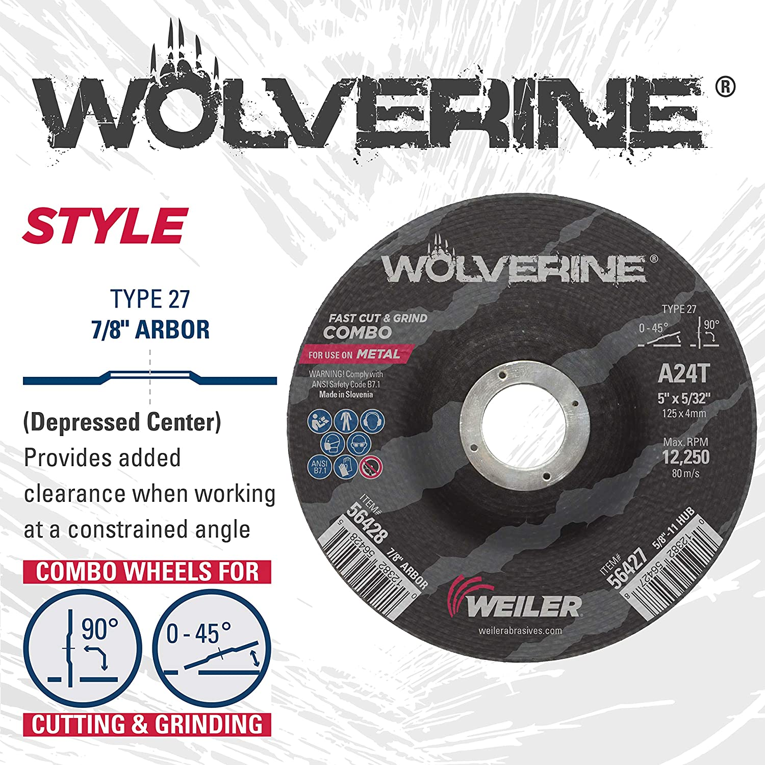 Pack of 25 A24T Weiler 56428 5 x 1//8 Wolverine Type 27 Cut and Grind Combo Wheel 7//8 A.H.