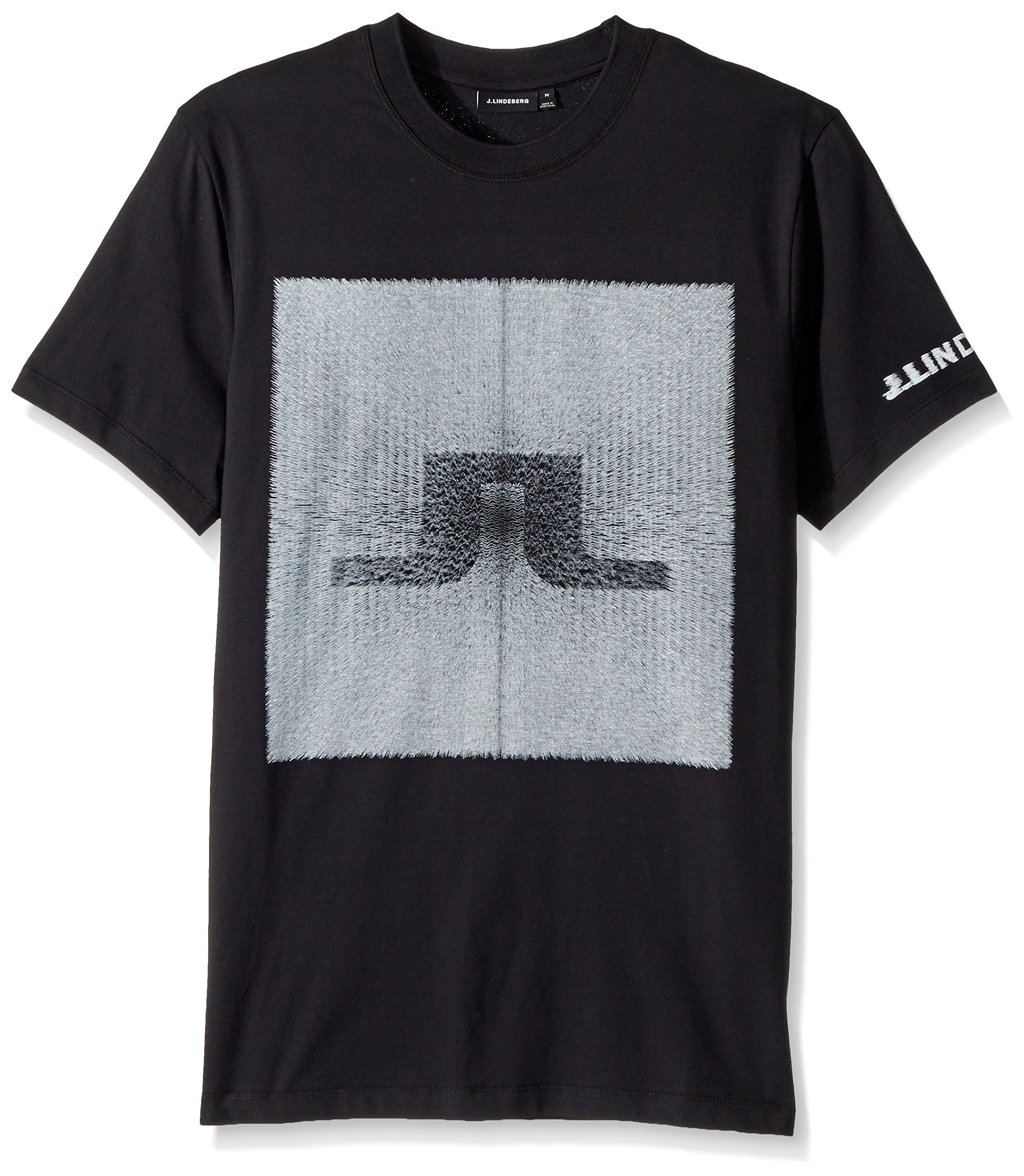 J.Lindeberg Men's Logo Cotton Tee, Black, XXL