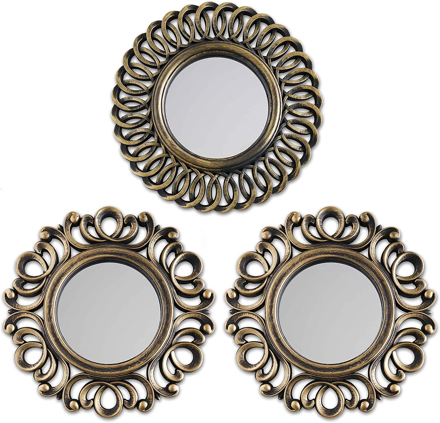 Wall Mirrors Pack of 3 - BONNYCO | Gold Vintage Mirrors for Living Room, Home Decor & Bedroom | Round Mirrors for Hanging and Wall Decor | Small Mirrors & Home Accessories | Gifts for Women & Mums…
