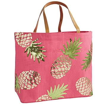 Amazon.com: Mud Pie 8613286P Sequin Tropical Dazzle Jute Tote ...