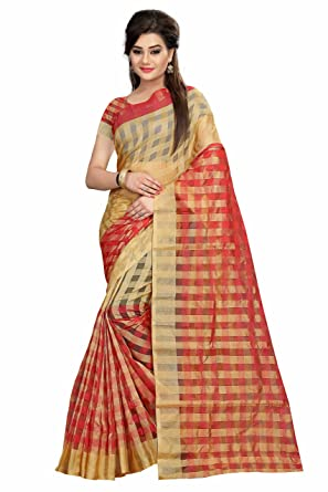 cf470bc07bf8c New indian style cream   red color plain work cotton saree blouse  Amazon.in   Clothing   Accessories