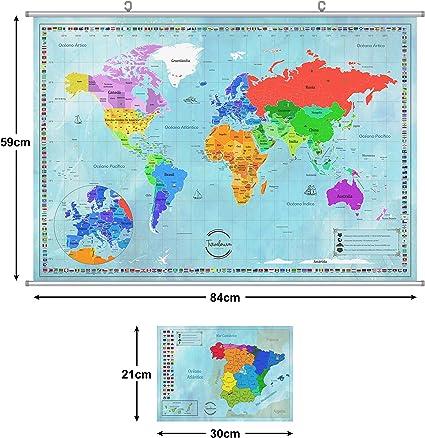 TRAVELORUM Mapa Mundi de Rascar en Español + KIT PARA COLGAR + Mapa de España con Provincias: Amazon.es: Oficina y papelería