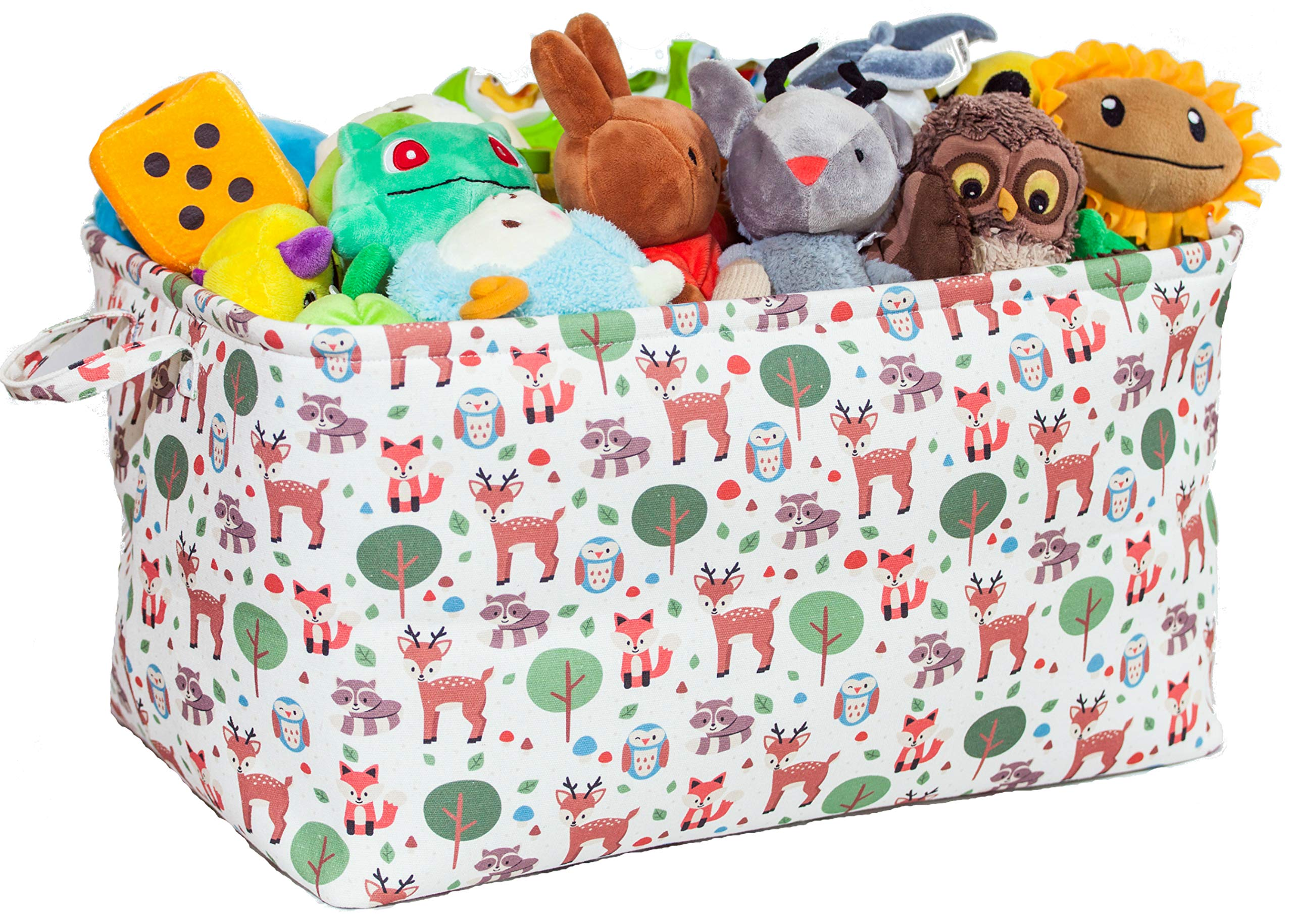 Toy Storage Basket with Woodland Forest Animal Prints - Large Organizer Bin for Kids Toys and Books