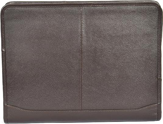 Zip Around Folio Black LEATHER A4 Paper Binder Organiser Underarm Conference Bag