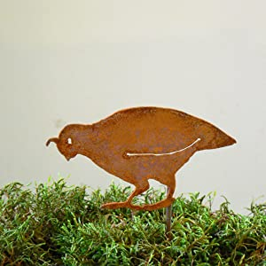 Elegant Garden Design Quail Chick with Head Down Stake, Steel Silhouette with Rusty Patina