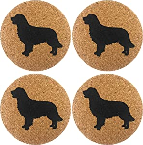 Golden Retriever Gift Dog Cork 4 Pack Drink Coasters Set -Kitchen Bar Table Decor - Perfect Decoration for Puppy Dog Lovers