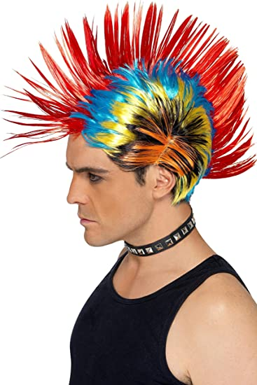 Amazon Com Smiffys Men S Rainbow Mohawk One Size 80 S Street Punk