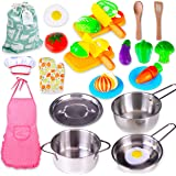 Kitchen Playset Accessories Toys - Stainless Steel Cookware Pots and Pans Set, Cooking Utensils and Cutting Play Food for Kid
