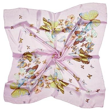 Bees Knees Fashion Papillon Rose Pâle Imprimé Foulard Carré En Soie Pure 6eed7fce84e