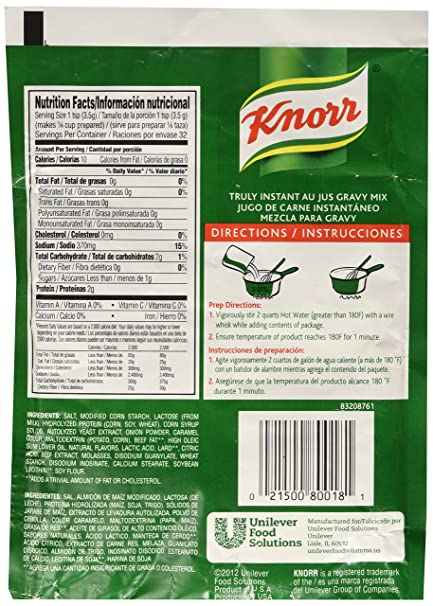 Amazon.com : Knorr Gravy Mix Au Jus 3.7 oz, Pack of 12 : Grocery & Gourmet Food