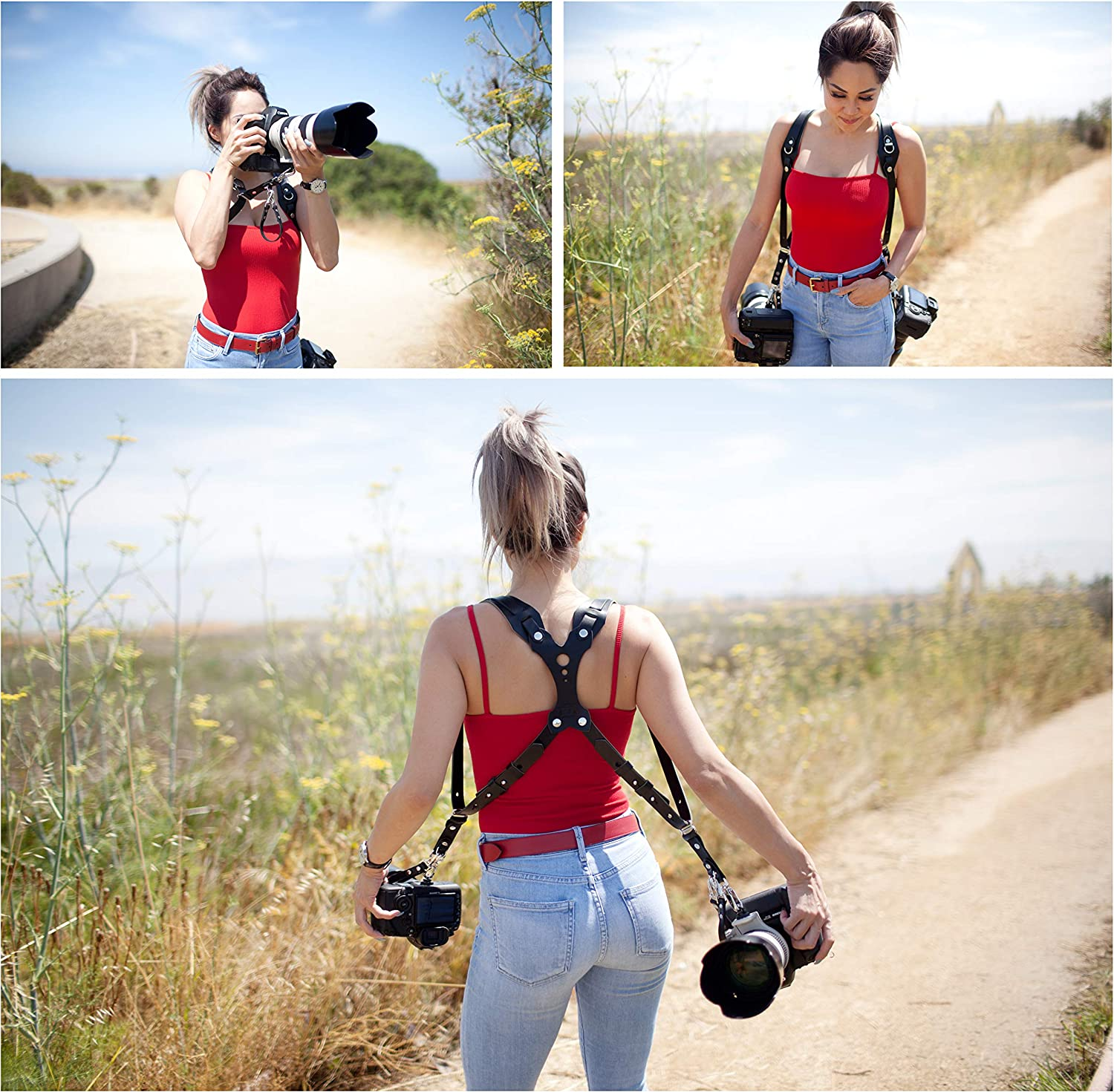 DLSR Sling /& Strap RL Handcrafts Clydesdale Lite-Dual Handmade Leather Camera Harness Point /& Shoot Made in The USA Mirrorless