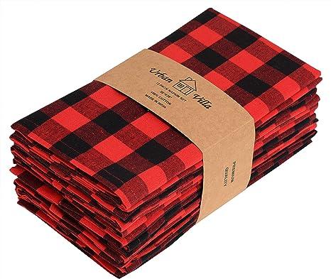 Christmas Ready to Ship Everyday Reusable Cloth Napkins Easy Care Red Cloth Napkins 100/% Cotton Luncheon Napkins Wedding Gift Set of 4