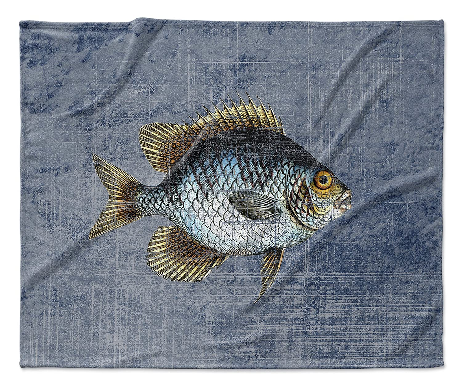 Blue//Gold//Brown - SALTWATER Collection Size: 50x60x1 - KAVKA Designs Fish Fleece Blanket, TELAVC8143VPM