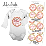 12 Monthly Baby Stickers, Gold Glitter {Faux} & Pink, Girl, Baby Belly Stickers, Monthly Onesie Stickers, First Year Stickers Months 1-12, Chevron, Stripes, Polka Dots, Quatrafoil, Baby Girl