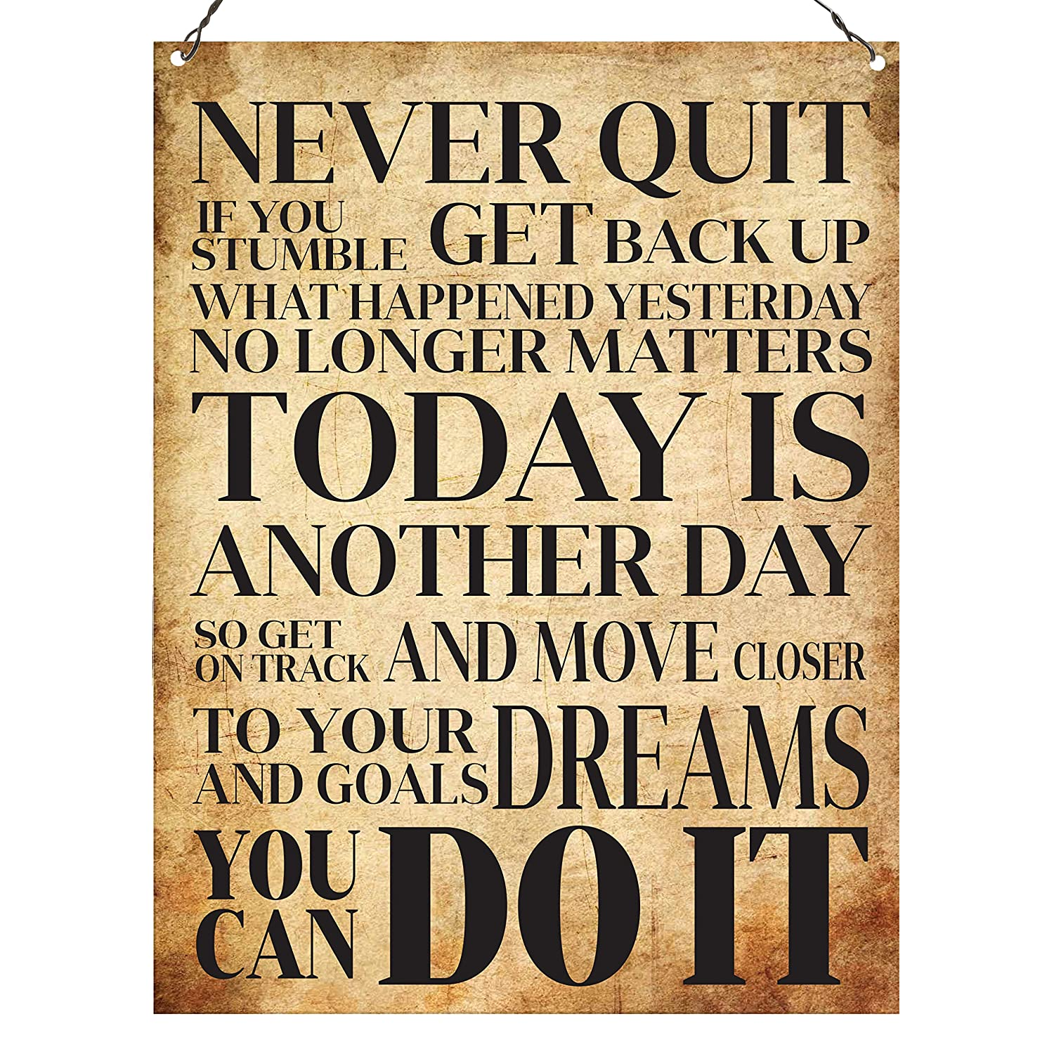 Dorothy Spring Never Quit You Can Do It Inspirational Quote Plaque Metal Sign Size 15x20cm