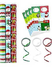 Hallmark Reversible Christmas Wrapping Paper Set with Ribbon and Gift Tag Stickers (Fun Holiday Icons, 3 Rolls of Wrapping Paper and Ribbon)