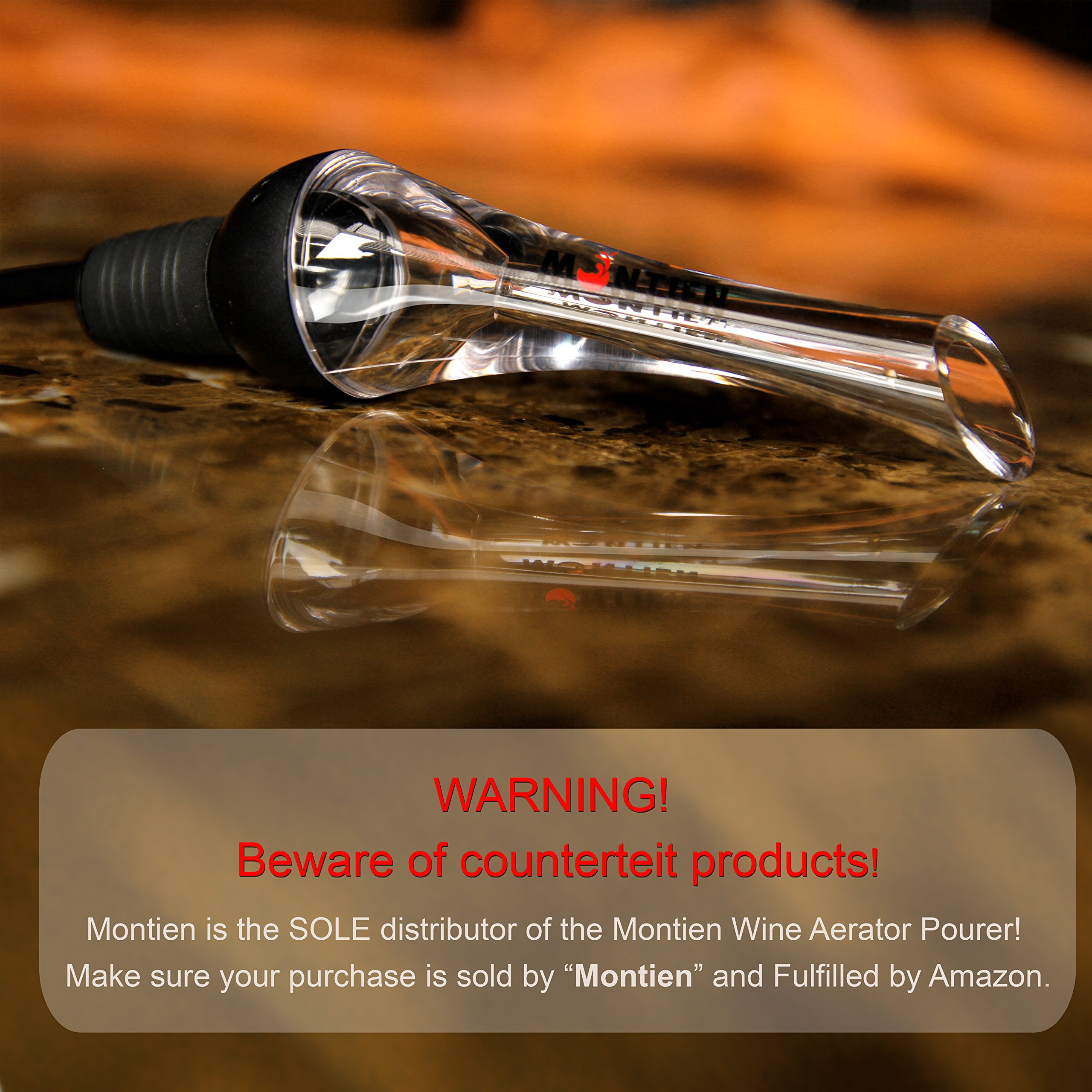MonTien Wine Aerator Pourer - Premium Aerating Pourer - Exquisite & Best Wine Aerator Pourer Gift Set - Wine Accessories For Soiree With Decanter Spout - Wine Stopper Performer - Friendly Air Travel
